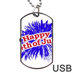 Happy 4th Of July Graphic Logo Dog Tag USB Flash (One Side)