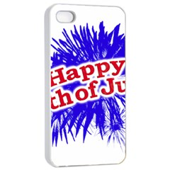 Happy 4th Of July Graphic Logo Apple iPhone 4/4s Seamless Case (White)