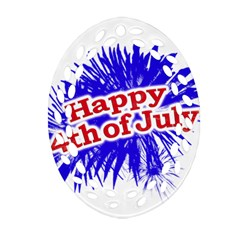 Happy 4th Of July Graphic Logo Oval Filigree Ornament (Two Sides)