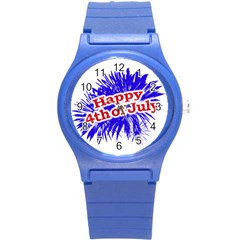 Happy 4th Of July Graphic Logo Round Plastic Sport Watch (S)