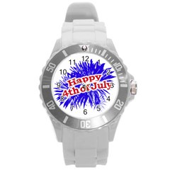 Happy 4th Of July Graphic Logo Round Plastic Sport Watch (L)