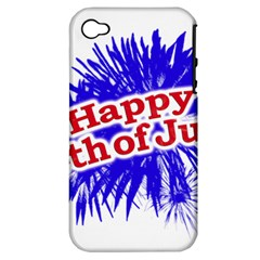 Happy 4th Of July Graphic Logo Apple iPhone 4/4S Hardshell Case (PC+Silicone)