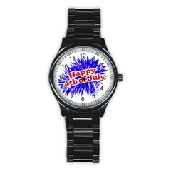 Happy 4th Of July Graphic Logo Stainless Steel Round Watch