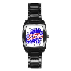 Happy 4th Of July Graphic Logo Stainless Steel Barrel Watch