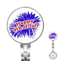 Happy 4th Of July Graphic Logo Stainless Steel Nurses Watch