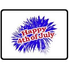 Happy 4th Of July Graphic Logo Double Sided Fleece Blanket (Large)