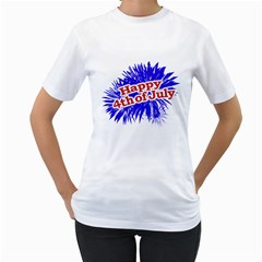 Happy 4th Of July Graphic Logo Women s T-Shirt (White)