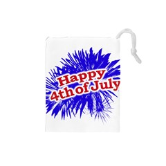 Happy 4th Of July Graphic Logo Drawstring Pouches (Small)
