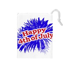 Happy 4th Of July Graphic Logo Drawstring Pouches (Medium)