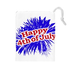Happy 4th Of July Graphic Logo Drawstring Pouches (Large)