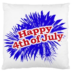 Happy 4th Of July Graphic Logo Large Flano Cushion Case (One Side)