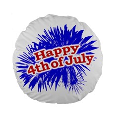 Happy 4th Of July Graphic Logo Standard 15  Premium Flano Round Cushions