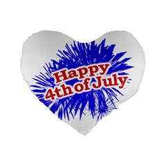 Happy 4th Of July Graphic Logo Standard 16  Premium Flano Heart Shape Cushions