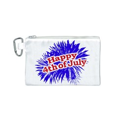 Happy 4th Of July Graphic Logo Canvas Cosmetic Bag (S)