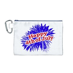 Happy 4th Of July Graphic Logo Canvas Cosmetic Bag (M)