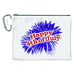 Happy 4th Of July Graphic Logo Canvas Cosmetic Bag (XXL)