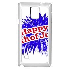 Happy 4th Of July Graphic Logo Samsung Galaxy Note 4 Case (White)