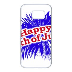 Happy 4th Of July Graphic Logo Samsung Galaxy S7 edge White Seamless Case