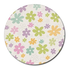 Beautiful spring flowers background Round Mousepads