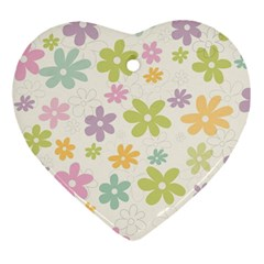 Beautiful spring flowers background Ornament (Heart)