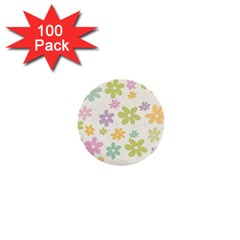 Beautiful spring flowers background 1  Mini Buttons (100 pack)