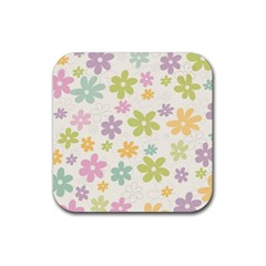 Beautiful spring flowers background Rubber Coaster (Square)