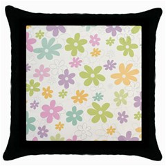 Beautiful spring flowers background Throw Pillow Case (Black)