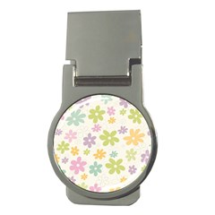 Beautiful spring flowers background Money Clips (Round)