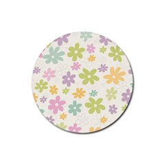 Beautiful spring flowers background Rubber Round Coaster (4 pack)