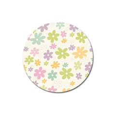Beautiful spring flowers background Magnet 3  (Round)