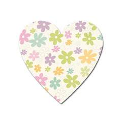 Beautiful spring flowers background Heart Magnet
