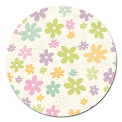 Beautiful spring flowers background Magnet 5  (Round)