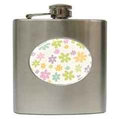 Beautiful spring flowers background Hip Flask (6 oz)
