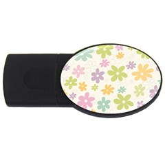 Beautiful spring flowers background USB Flash Drive Oval (1 GB)