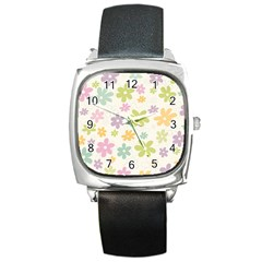 Beautiful spring flowers background Square Metal Watch