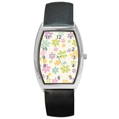 Beautiful spring flowers background Barrel Style Metal Watch