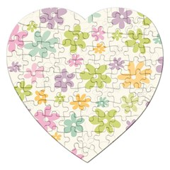 Beautiful spring flowers background Jigsaw Puzzle (Heart)