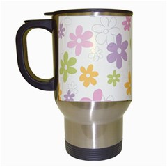 Beautiful spring flowers background Travel Mugs (White)