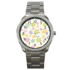 Beautiful spring flowers background Sport Metal Watch