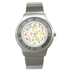 Beautiful spring flowers background Stainless Steel Watch