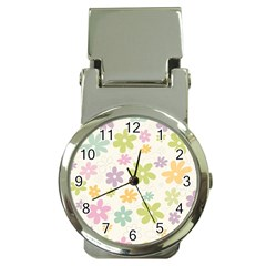 Beautiful spring flowers background Money Clip Watches