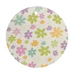 Beautiful spring flowers background Round Ornament (Two Sides)
