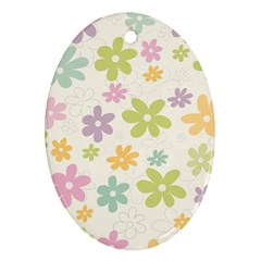 Beautiful spring flowers background Oval Ornament (Two Sides)