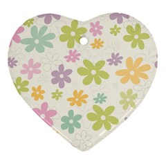 Beautiful spring flowers background Heart Ornament (Two Sides)