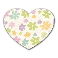 Beautiful spring flowers background Heart Mousepads