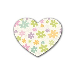 Beautiful spring flowers background Rubber Coaster (Heart)