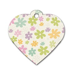 Beautiful spring flowers background Dog Tag Heart (Two Sides)
