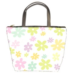 Beautiful spring flowers background Bucket Bags