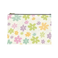 Beautiful spring flowers background Cosmetic Bag (Large)