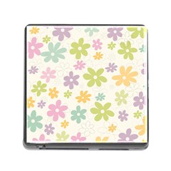 Beautiful spring flowers background Memory Card Reader (Square)